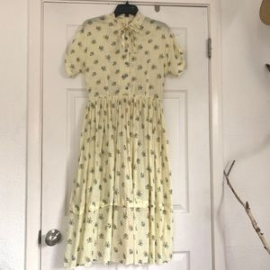 vintage 50s dress yellow and blue